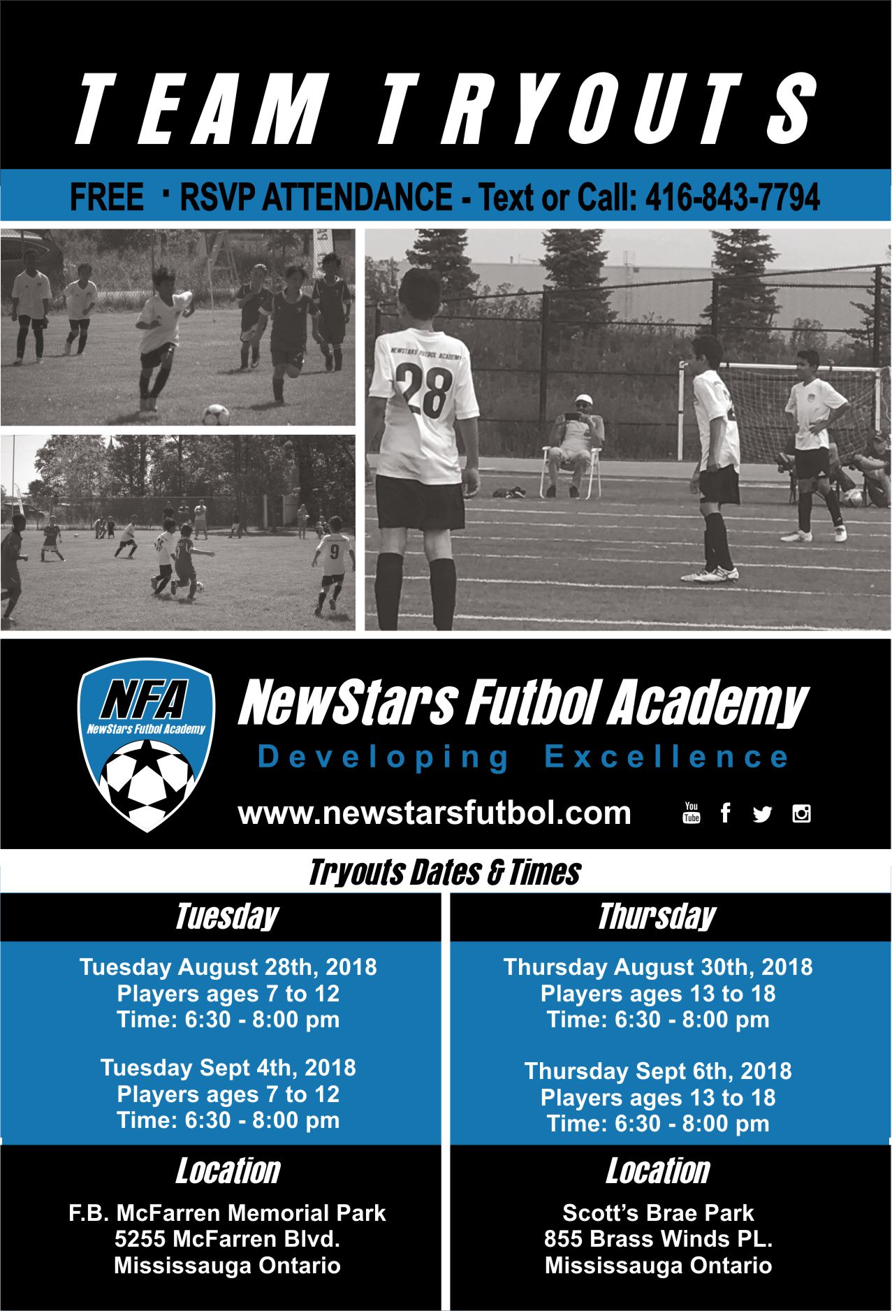 NFA Tryouts August – Sept 2018